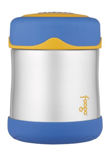 THERMOS FOOGO Vacuum Insulated Stainless Steel 10-Ounce Food Jar, Blue/Yellow