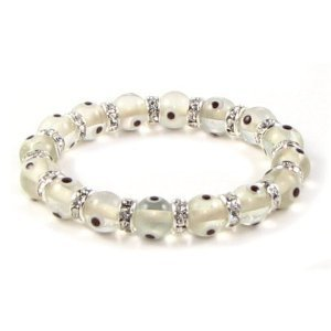 Bling Jewelry Evil Eye Beads 10mm White Transluscent Glass Rhinestone Stretch Bracelet 7.5 Inch