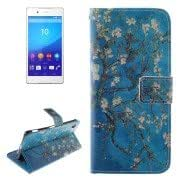 Plum Pattern Leather Case with Holder Card Slot Wallet for Sony Xperia Z4