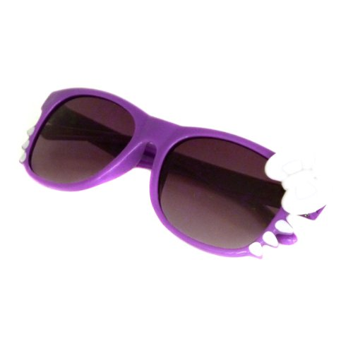 HELLO Kitty Style Kids Children Baby Toddler Sunglasses UV (Age 1-5) PURPLE/WHITE BOW