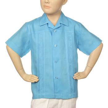 Boys irish linen shirt in turquoise blue short sleeve.