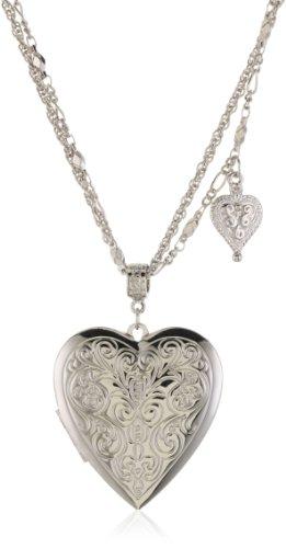 1928 Jewelry Dual Strand Short Heart Locket Necklace