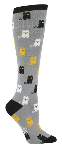 Sock It To Me Cats Grey Knee High Sock (Grey)