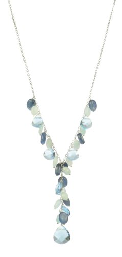 Aquamarine and Kyanite Oval Bead and Blue Swarovski Elements Flat Faceted Teardrop Y-Shape Necklace on Sterling Silver Chain, 17