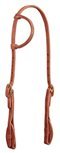 Weaver Leather ProTack Quick Change Sliding Ear Headstall Features Leather Tab Bit Ends, Brown