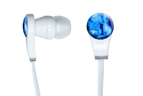 Jellyfish - Blue Jelly Fish Ocean Underwater Novelty In-Ear Earbud White Headphones