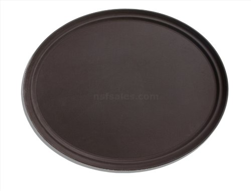 New Star 25545 NSF Plastic Oval Rubber Lined Non-Slip Tray, 22 by 27-Inch, Brown