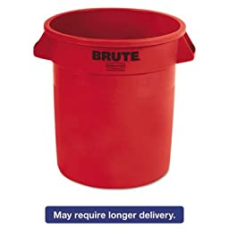 Rubbermaid Commercial FG261000RED BRUTE Heavy-Duty Round Waste/Utility Container, 10-gallon, Red