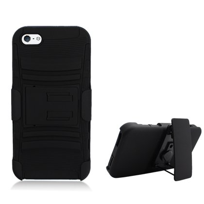 Cell Accessories For Less (Tm) For Apple Iphone 5/5S Black Armor W/Stand Black Skin & Black Belt Clip + Bundle (Stylus & Micro Cleaning Cloth) - By Thetargetbuys
