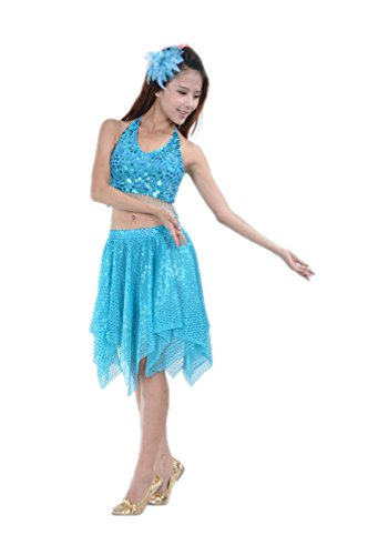 Dreamspell 2014 Light Blue Belly Dance Costume Best Stage Suit 2 Pieces