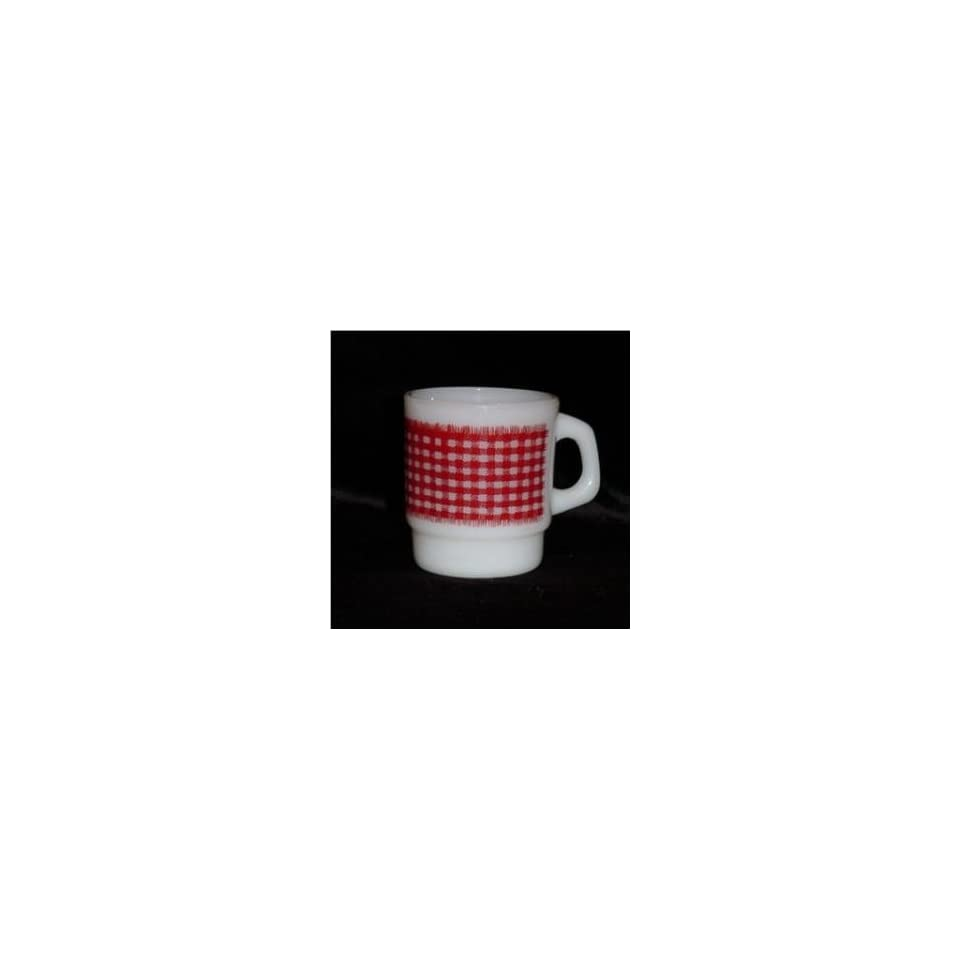 Anchor Hocking Fire King Milk Glass Red Gingham Stacking Mug