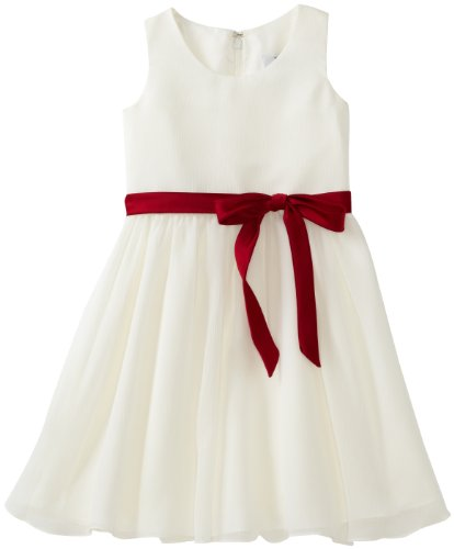 Us Angels Girls 2-6X Modern Milly Swirl Dress, Ivory/Red, 4