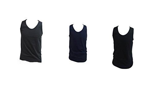 3 canotte uomo spalla larga NAZARENO GABRIELLI 100% cotone pettinato colorato (NERO,GRIGIO,BLU) ART.NC31 (TG.7)