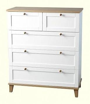 Arcadia cajonera con blanco y armario chapado en madera de fresno con 3 + 2 W88cm D39cm H103cm nuevo