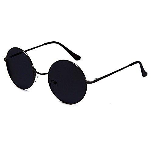 Occhiali da sole Hippie - stile TEASHADES John Lennon - rotondi VINTAGE uomo donna UNISEX - NERO / Nero