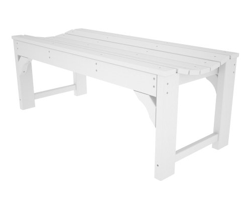 POLYWOOD BAB148WH Traditional Garden 48″ Backless Bench, White