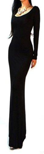 Izaac Sexy Black Minimalist Backless Open Cutout Back Slip Jersey Long Maxi Dress (Us 2-4/S, Black)