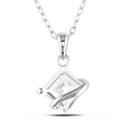 Sterling Silver 1 1/3 CT TGW Square Created White Sapphire Fashion Pendant With Chain