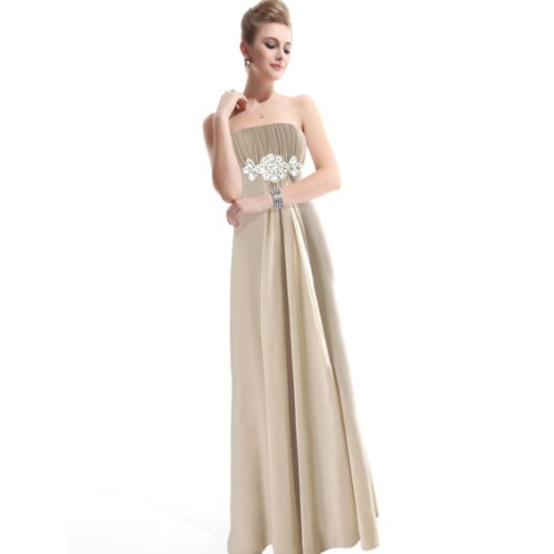 Ever Pretty Strapless Rhinestones Ruffles Padded Chiffon Prom Dress 09652, HE09652KQ16, Khaki, 14US