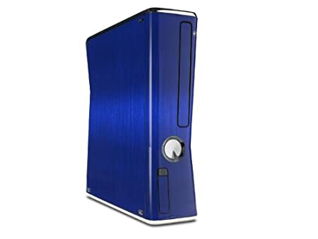Brushed Metal Blue Decal Style Skin for XBOX 360 Slim Vertical