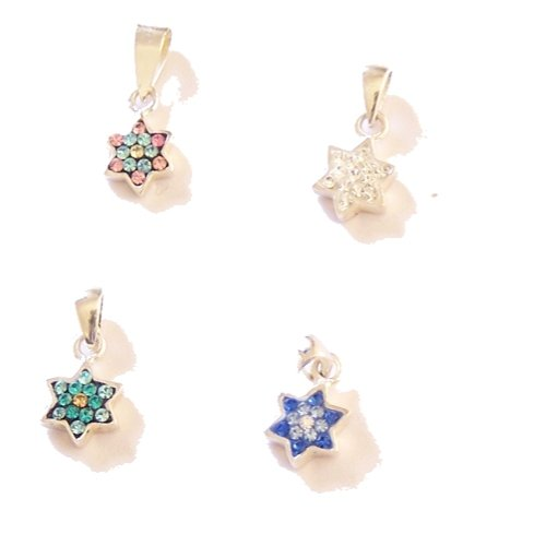 Set of Four Silver Stars of David with Swarovski stones and Enamel - Small ( 7mm .28 inch )