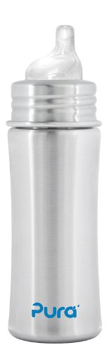 Pura Stainless Kiki Sippy Bottle Stainless Steel, 11 Ounce, Natural