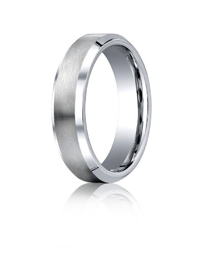 Cobalt Chrome, 6mm Comfort-Fit Satin-Finished Beveled Edge Design Ring (sz 8)