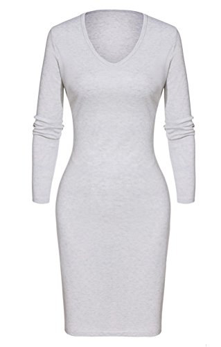 Halife Women's Long Sleeve Sexy V-neck Ribbed Knit Sweater Dress with Side Slit