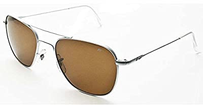 AO Original Pilot Sunglasses, Wire Spatula, Matte Chrome Frame, Amber Glass Lens, 55mm,