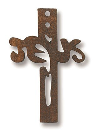 Dark Wooden Small Catholic Christian Cut Out Jesus Christ Cross Pendant