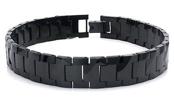 Black Tungsten Carbide 10MM Men's Link Bracelet Sz 8