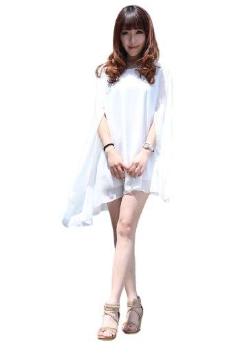Cool2Day Womens Fashion Unique Cloak Design Short Chiffon Dress (Model: Yf010168) (Womens Xs-M/Girls 10-16, White)