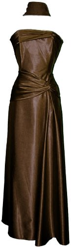 Goddess Strapless Satin Holiday Formal Bridesmaid Gown Prom Dress, XS, Chocolate