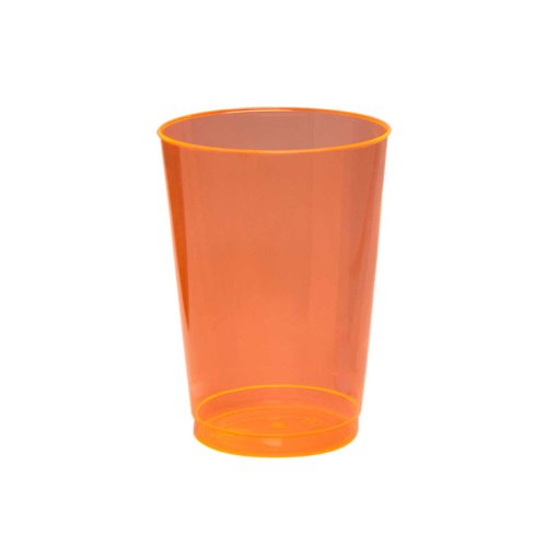 Party Essentials Hard Plastic 10-Ounce Party Cups and Tall Tumblers, Neon Orange, 25-Count