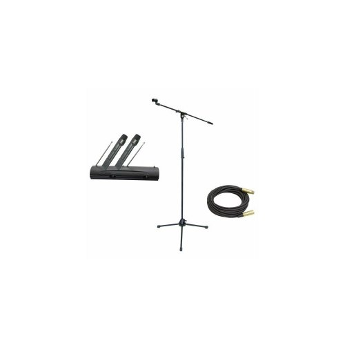 Pyle Mic And Stand Package - Pdwm2100 Professional Dual Vhf Wireless Handheld Microphone System - Pmks2 Tripod Microphone Stand W/Boom - Ppmcl50 50Ft. Symmetric Microphone Cable Xlr Female To Xlr Male
