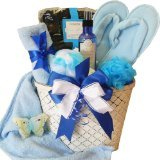 Sweet Blue Calming Sensations Spa Bath and Body Gift Basket Set