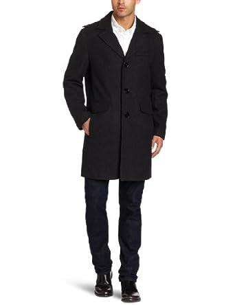 Kenneth Cole New York Men's Melton Walker Outerwear, Charcoal, X-Large