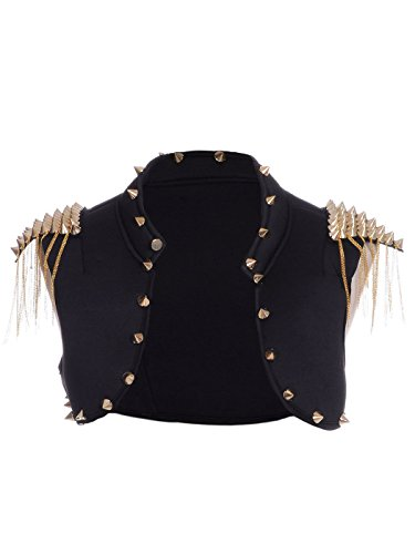 Black Gold Spike Stud Embellished Crop Vest