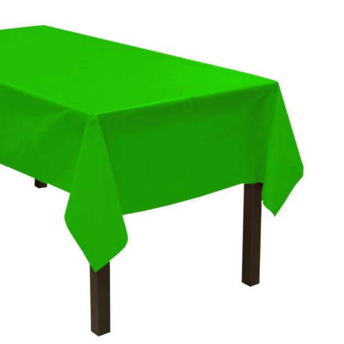 "Party Essentials Heavy Duty Plastic Table Cover, 54 x 108"", Neon Green - 1"