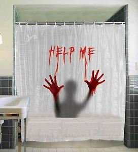 Help Me Bloody Shower Curtain (Scary Clown Jack In The Box compare prices)