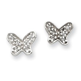Sterling Silver Tiny CZ Butterfly Post Earrings