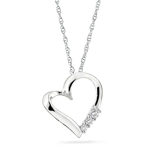 "10k Gold 3-stone Diamond Heart Pendant with 18"" Chain (1/10 Cttw; I-J Color): Jewelry"