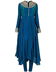 Isha Enterprise Women's Georgette Kurtis(HP1032-Blue_Blue)