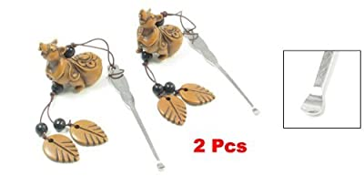 Move&Moving(TM) 2 Pcs Steel Earwax Remover Cleaner Tool w Removable Kangaroo Hanging Ornament