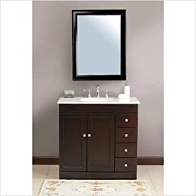 "Modena Single 36"" Bathroom Vanity Set in Espresso Vanity Top Finish: Baltic Brown"