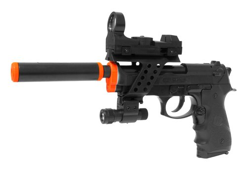 Electric Full Auto Tactical M9 Pistol Fps-150, Silencer, Red Dot Sight, Flashlight, Blowback Airsoft Gun