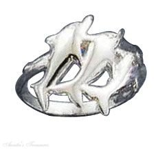 Sterling Silver Triple Dolphin Ring Size 10