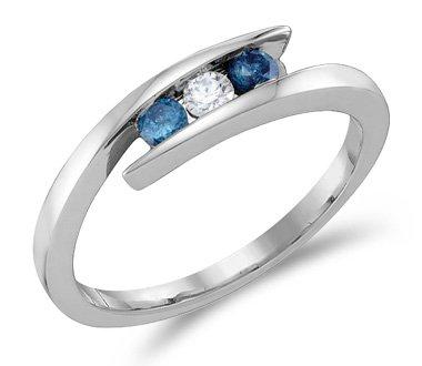 White & Blue Diamond Three Stone Ring 14k White Gold Band (1/4 Carat), Size 5