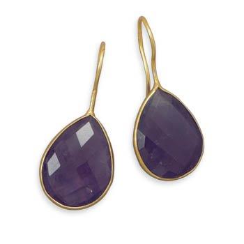 14 Karat Gold Plated Amethyst Earrings