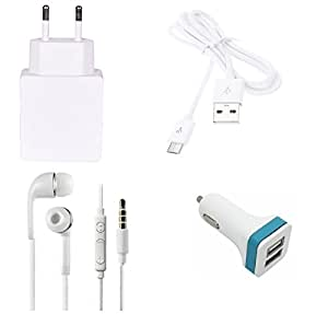 High Quality 1.0 Amp USB Charger, USB Cable, 3.5mm Jack Handsfree, 2 Jack USB...